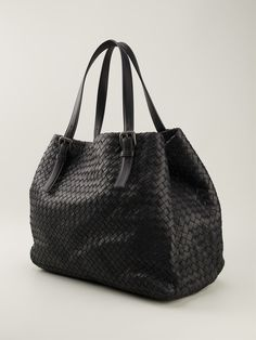 Black leather intrecciato tote from Bottega Veneta