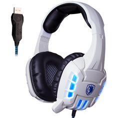 [USD16.63] [EUR15.05] [GBP11.72] SADES 718S USB Stereo PC Gaming Headband Headphones with Mic & Vibration LED light(White)