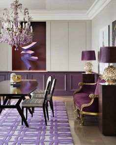 [ Purple Dining Rooms Room Ideas Table ] - Best Free Home Design Idea & Inspiration Types Of Carpet, Types Of Rugs, Inspiration Ikea, Custom Carpet, Purple Interior, Rug Company, Interior Decorating, Interior Design, Everything