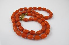Vintage Coral Bead Necklace Hand Knotted by TonettesTreasures