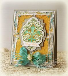 Elegant, rich, distressed birthday card by @Amy Sheffer