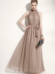 Elegant Style Sleeveless Fashion Chiffon Long Dress