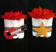 Mini Baby Boy Rockstar Guitar Diaper Cake Baby Shower Favors via Etsy