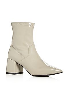 SENSO WOMEN'S SIMONE PATENT LEATHER FLARED BLOCK HEEL BOOTIES. #senso #shoes #