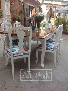 Ateliando - Customização de móveis antigos: Mesa de Jantar Antiga