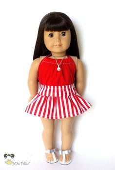 American Girl Doll Clothes – A Line Skirt, Halter Top,Striped, Red, White, Summer Spring, 18 inch Shirt by JoDeePetites on Etsy $18.00