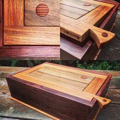Jewelry/Keepsake Box. Timbers used Madagascar Rosewood, New Guinea Rosewood, Blackbean and a hint of rare Pernambuco. Boxes like this can also be yours. Tell me the colours you like and let me do the rest. Send me a DM as is this client did. #wood #woodworking #handmade #gift #unique #jewelry
