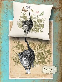 Printable Images KITTY'S GARDEN 2 Digital Sheets to print on fabric / paper, Iron On Transfer for tote bags t-shirts pillows home decor