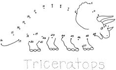 Print The Dinosaur Connect Dots Use Pen