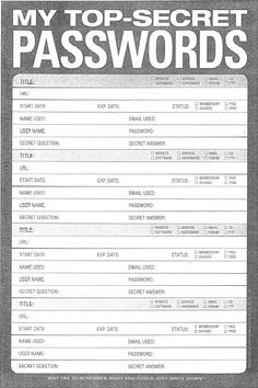 374 Best Printable password sheets images in 2019 | Binder, Blue