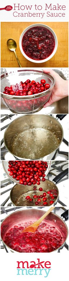 favorite sweet-tart Thanksgiving staple is oh-so-easy to make from scratch. All you need to make classic cranberry sauce is cranberries, sugar and water. A quick boil and a few hours in the fridge, and got Betty-approved homemade cranberry sauce. Thanksgiving Sides, Thanksgiving Recipes, Fall Recipes, Holiday Recipes, Turkey Recipes, Cranberry Recipes, Cranberry Sauce, Dips, Sweet Tarts
