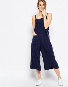 da678485f96 ASOS Cami Jumpsuit with Culotte Leg and Pockets at asos.com. Blue  JumpsuitsJumpsuits For WomenMode OnlineDungareesOverallsNavy ...