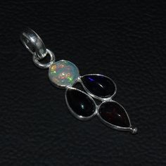 925 STERLING SILVER NATURAL ETHIOPIAN FIRE BLACK OPAL CAB PENDANT JEWELRY 117