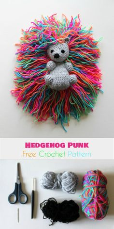 Hedgehog Punk [Free Crochet Pattern] Follow us for ONLY FREE crocheting patterns for Amigurumi, Toys, Afghans and many more!