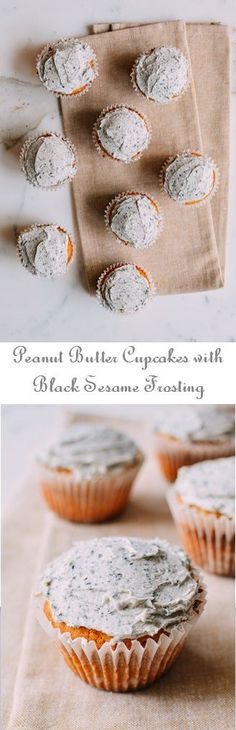 Peanut Butter Cupcakes with Black Sesame Frosting Recipe by the Woks of Life