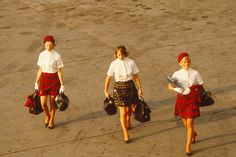 British Caledonian stewardesses, Gatwick airport 1974 Photo by takoyaki 77