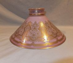 4 inch fitter gas glass lamp shade shepherd sheep house and tree 1870s boston and sandwich glass pink cone student oil lamp shade mozeypictures Choice Image