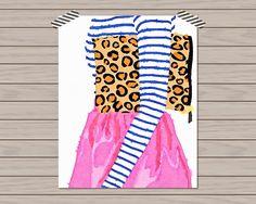 Preppy Printshop: Prep Avenue Print Collection: Pattern Play Watercolor Fashion Print