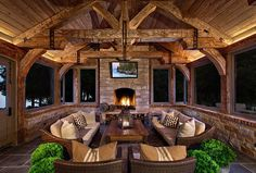 An outdoors design collection which features 18 Spectacular Rustic Porch Designs Every Rustic House Needs To Have. house 18 Spectacular Rustic Porch Designs Every Rustic House Needs To Have Rustic Outdoor Fireplaces, Outdoor Fireplace Designs, Backyard Fireplace, Small Fireplace, Porch Fireplace, Design Case, Outdoor Rooms, Outdoor Kitchens, Outdoor Living Patios