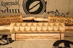 PERSONALIZED rolling pin,CUSTOM rolling pin **BONUS- custom designed holder** Rolling in the Dough,Christmas Tree design embossing pin!