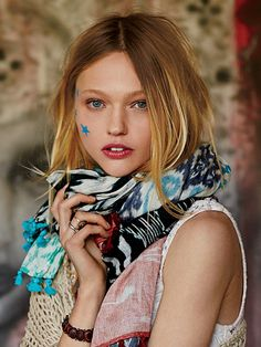 Free People Patchwork Ikat Scarf