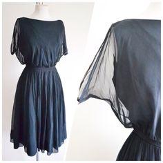 SALE 1940s 50s Black chiffon full skirt cocktail dress / 40s 1950s little black dress - S
