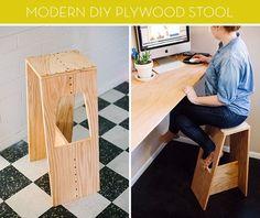 DIY plywood stool :: credit: Sarah Rhodes [http://www.abeautifulmess.com/2013/02/josh-modern-stool.html]