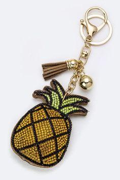 Soft Pineapple Glitter Keychain - KEY880PN