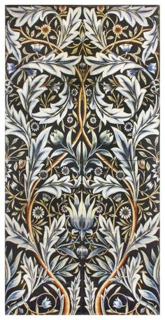 The Zurich Mural by StoneImpressions, is a black, silver and gold presentation of a William Morris/Russian Tsar, inspired botanical. William Morris Patterns, William Morris Art, Art And Craft Design, Design Art, Pattern Art, Pattern Design, Motifs Art Nouveau, Stoff Design, Arts And Crafts Movement