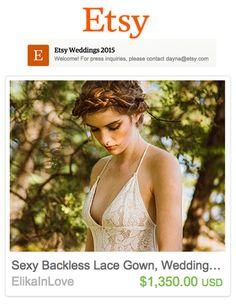 Etsy Weddings 2015 - Elika In Love's Crete gown featured in Etsy Weddings!  www.elikainlove.com Wedding 2015, Wedding Designs, Backless, Gowns, Crete, Wedding Dresses, Lace, Sexy, Weddings