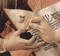 Detail of The Madonna of the Magnificat by Sandro Botticelli, executed in 1481. It is housed in the Uffizi, Florence.