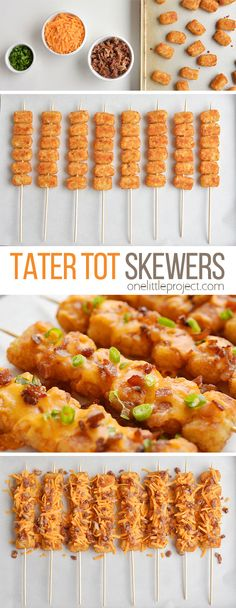 These loaded tater tot skewers are so delicious and they& really easy to m. - - These loaded tater tot skewers are so delicious and they& really easy to make! This is such an easy appetizer recipe. It& great for game da. Skewer Recipes, Easy Appetizer Recipes, Easy Healthy Recipes, Healthy Food, Easy Appetizers For Party, Christmas Appetizers, Dinner Healthy, Delicious Appetizers, Easy Party Recipes