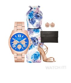 WATCH IT! Wedding Outfit Inspiration: Rose Gold & Blue!  This Fossil Cecile watch would look great when paired with a blue floral dress and rose gold strappy heels!