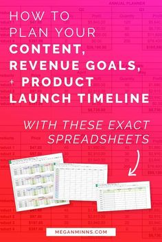 Feeling overwhelmed in your business? Need ONE PLACE to plan your content, revenue goals, and product launch timelines? I'm got the exact spreadsheets you need to help you do just that! Read the full blog post (and watch the free video lesson!) here:http://meganminns.com/blog/plan-your-goals