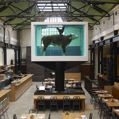 Yes, there's a ruddy great Damien Hirst sculpture suspended four metres above the restaurant's gawping diners. A Hereford cow and cockerel, preserved in a steel and glass tank of formaldehyde, stands ominously over the dining room...