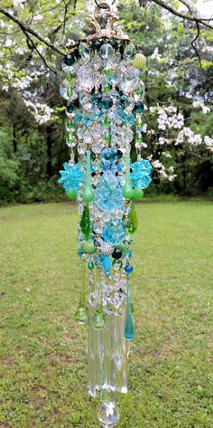 Aqua and Green Antique Crystal Wind Chime, Summer Wind Chime, Garden Decoration, Window Decoration by sheriscrystals on Etsy