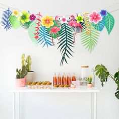 3M Tropical Flamingo Leaves Banner Flower Garland Paper Flag Bunting Birthday Baby Shower Hawaiian Summer Party Decoration