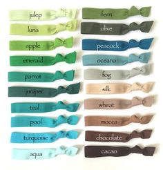 Elastic Hair Ties You Choose 10 Colors 70 Choices Color Combinations, Color Schemes, Color Mixing Chart, Seamless Transition, Elastic Hair Ties, Colour Pallete, Mocca, Paper Tags, Color Names