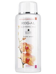 Lapte demachiant cu extract de Orhidee Regal - 200 ml - Lapte bogat in ingrediente naturale si cu o consistenta cremoasa ce lasa pielea curata, catifelata si oxigenata. Pentru ten uscat si sensibil. Fara parabeni. Cleansing Milk, Sparkling Ice, Sensitive Skin, Orchids, Natural Beauty, Shampoo, Bottle, Lady, Shelf
