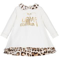 Roberto Cavalli Girls Ivory Leopard Jersey Logo Dress  at Childrensalon.com