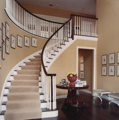 modern colonial foyer curved staircase - Google Search