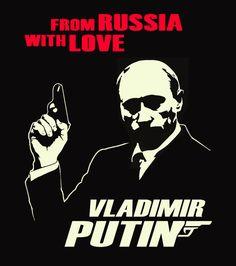 Putin T Shirt Russia James Bond 007 USSR Silver Print Black Tee  S - 5XL #SOLS #BasicTee