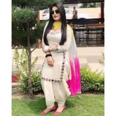 Auspicious White Full Stitched Patiyala Suit Punjabi Suit Neck Designs, Patiala Suit Designs, Neck Designs For Suits, Kurta Designs Women, Dress Neck Designs, Patiala Dress, Punjabi Dress, Indian Salwar Kameez, Patiala Salwar Suits