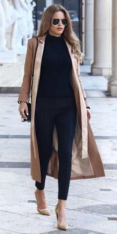 Nada Adelle + silky beige maxi coat + black cigarette trousers + black turtleneck + pair of matching beige flats + shades + Nada's sophisticated style  Coat: Lavish Alice, Bag: Rebecca Minkoff, Shoes: Topshop.