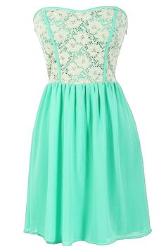 mint and lace summer dress, strapless