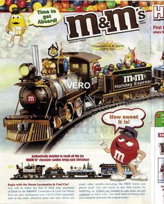 2009 magazine ad M&M's HOLIDAY EXPRESS mms M&M train red green yellow 2 pages