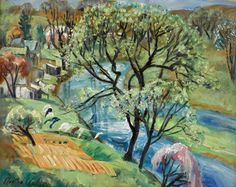 Martha Walter (USA 1875-1976) House by the Stream, Bethayers oil on board 40.6 x 50.8 cm