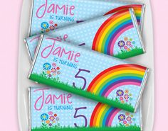 Fun and colorful, you can't go wrong with a rainbow birthday theme for your little girl's party. Personalized HERSHEY'S chocolate bars are a sweet addition to your goodie bags or dessert table. They also look great at birthday candy buffets! Add a thank you message to the back of the candy wrapper instead of sending thank you notes out after the party.
