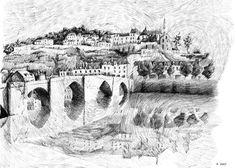 Etsy - Fingerprint – Terrasson village – Black ink drawing. Nicolas Jolly