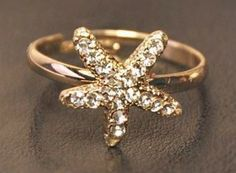Starfish Rhinestone Adjustable Ring | LilyFair Jewelry